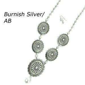 Silver Concho Necklace Set